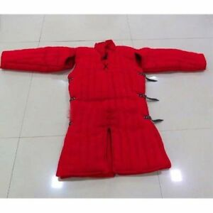 Medieval Gambeson Thick Padded Red Coat Jacket Armor Cotton Costume Halloween