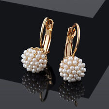 New Fashion Women Lady Elegant Pearl Beads Ear Hoop Dangle Earrings Jewelry Gift