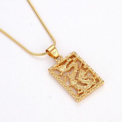 "Dragon Pendant Fashion 18k Yellow Gold Filled Men/'s Women/'s Necklace 19/"" Link"