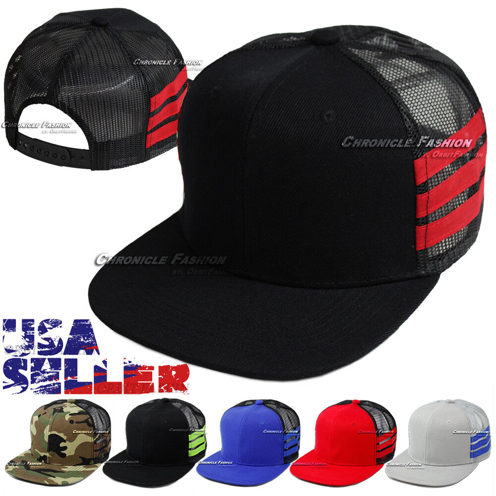 f653312244f Trucker Mesh Hat Baseball Cap Snapback Plain Flat Hip Hop Adjustable ...