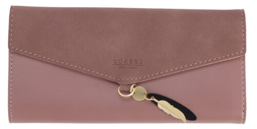 Ladies Large Soft RFID Blocking Faux Leather Suede Large Trifold Purse Wallet