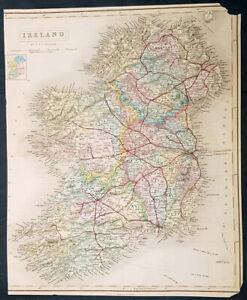 1850-J-amp-C-Walker-Large-Antique-Map-of-Ireland