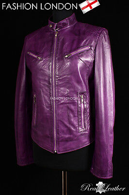 """""""CRUSH"""" Purple Washed Ladies Biker Style Fitted Real Lambskin Leather Jacket"""