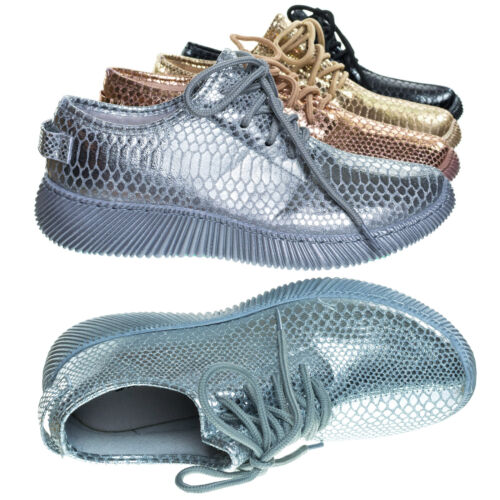 Forward03  Snakeskin Embossed Prints Lace Up Sneaker w Ribbed Outsole