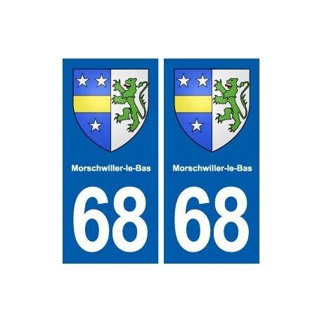 68 Morschwiller-le-Bas blason autocollant plaque stickers ville arrondis