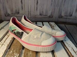 Details about Adidas women's shoes comfort flats loafers boats tropical bird 10 723002