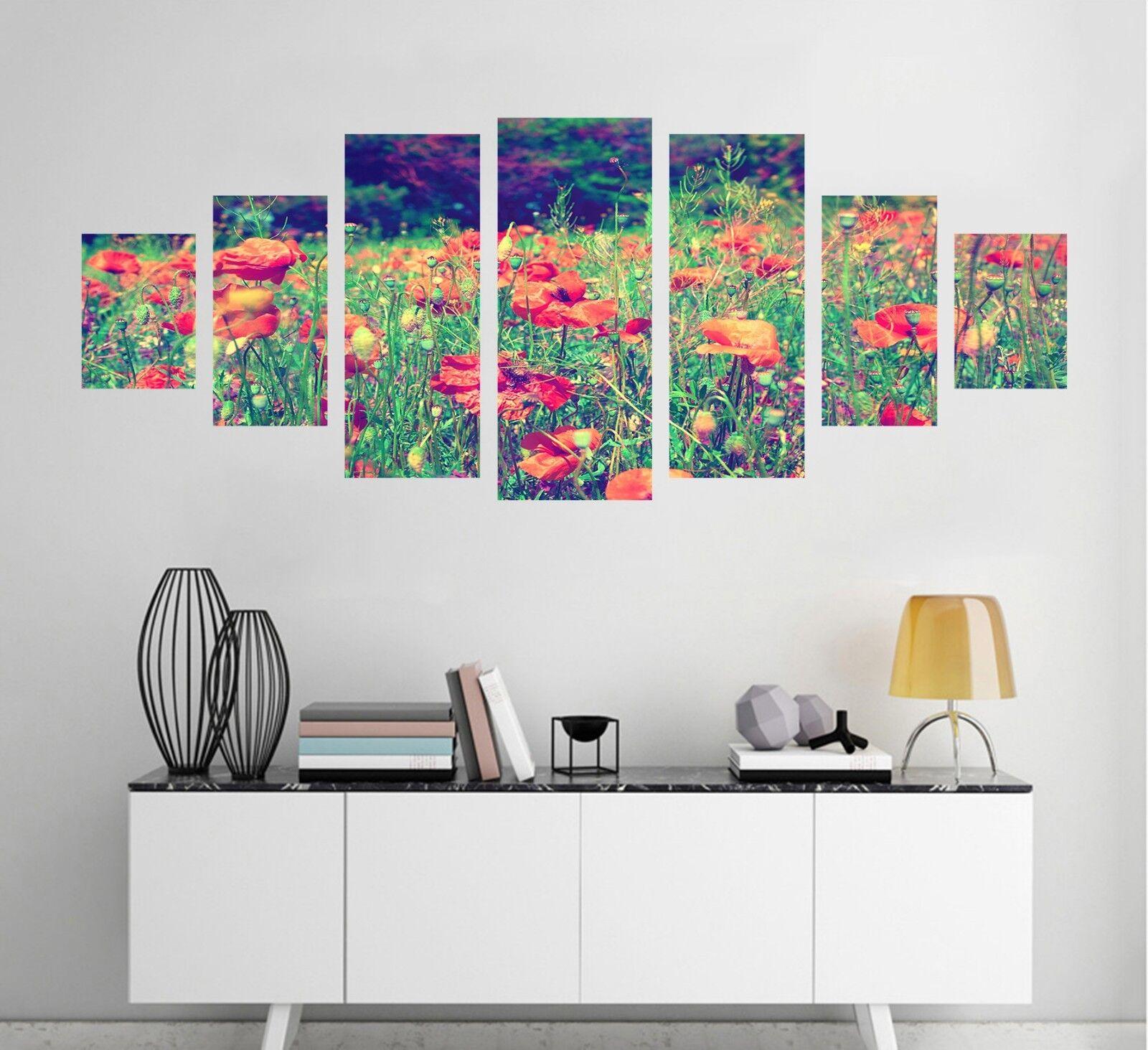 3D Flower Field rot 72 Unframed Drucken Wand Papier Decal Wand Deco Innen AJ Jenny