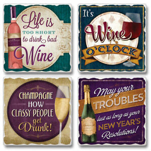 Mixed-Absorbent-Stone-Coasters-Set-of-4-Wine-It-039-s-Wine-O-039-Clock-Life-is-Too-Short