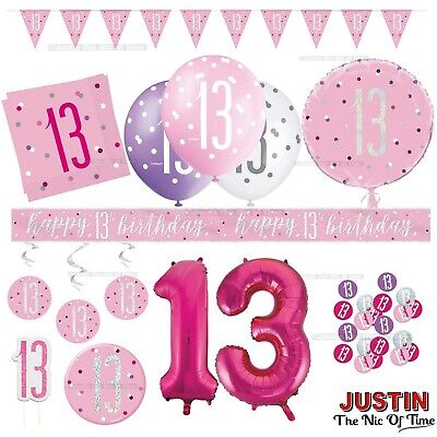 Rose Gold 13th Birthday Party Decorations Girls Teenager Balloons Banners Age 13