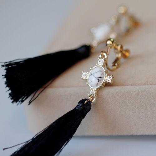 Boucles d/'Oreilles Clips Doré Turquoise Blanc Long Pompon Noir Leger Tissu C9