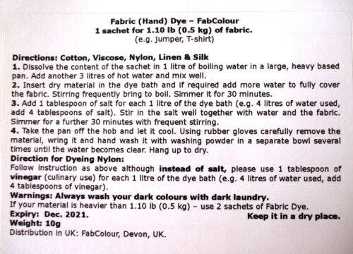 Fabric Dye BLACK for Clothes Cotton