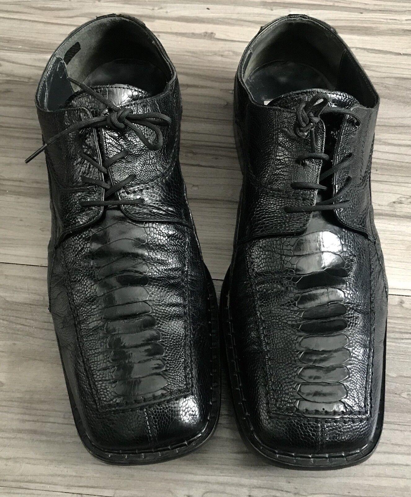 DAVID EDEN GENUINE ALLIGATOR & LIZARD nero SQUARE TOE DRESS scarpe MENS SZ 13