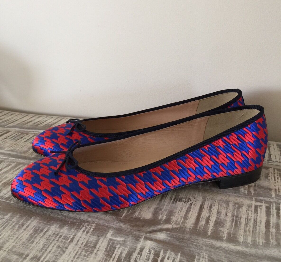 JCrew  168 Kiki Ballet Flats in Houndstooth Jacquard 10.5 Red Blue F8505 NEW