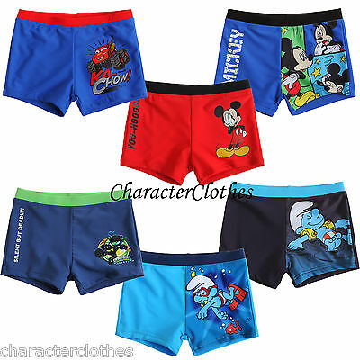 New Boys CHARACTER Swimming Shorts Swim Trunks Kids Swimwear Age 2-12 Years