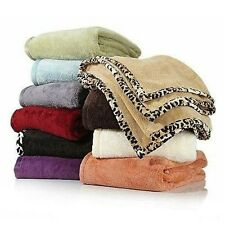 Concierge Collection Soft & Cozy Blanket Full/Queen Tan with Leopard Trim NEW