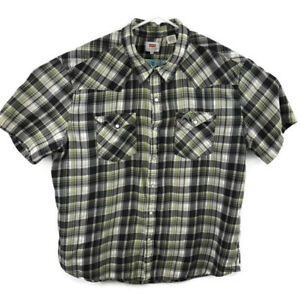 Levis-Mens-XXL-Green-Plaid-Western-Pearl-Snap-S-S-Flannel-Shirt-Cotton