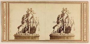 Toro Farnese Museo Da Napoli Italia Foto Stereo PL56L Vintage Albumina 1864