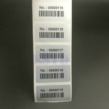 Consecutive Number Inventory Stickers Labels With Bar Code Waterproof 500pcs