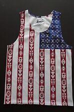 BROOKLYN CLOTH 100% POLYESTER AMERICAN FLAG/INDIAN MOTIVE A-SHIRT sz M