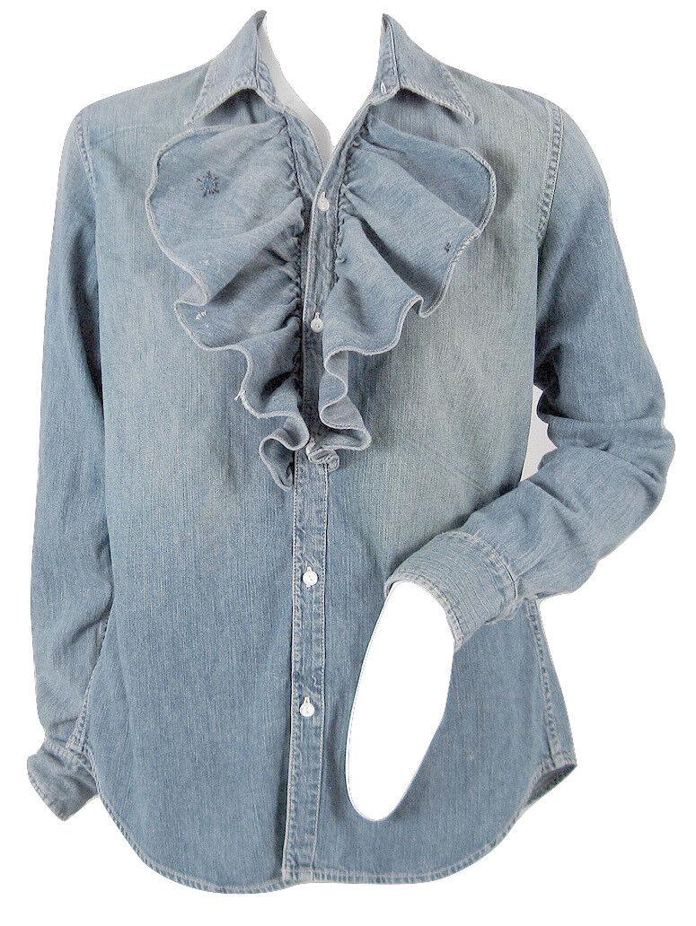 NEW   Polo Ralph Lauren damen Distressed Denim Ruffle Front Shirt   8