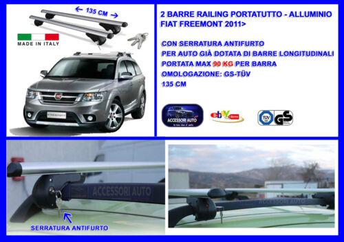 Barre Portatutto Portapacchi Alluminio-Chiavi Antifurto Fiat Freemont 2011/> Suv
