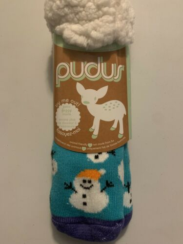 Extra Fuzzy//Warm Adults One Size NWT Pudus Slipper Socks snowman design