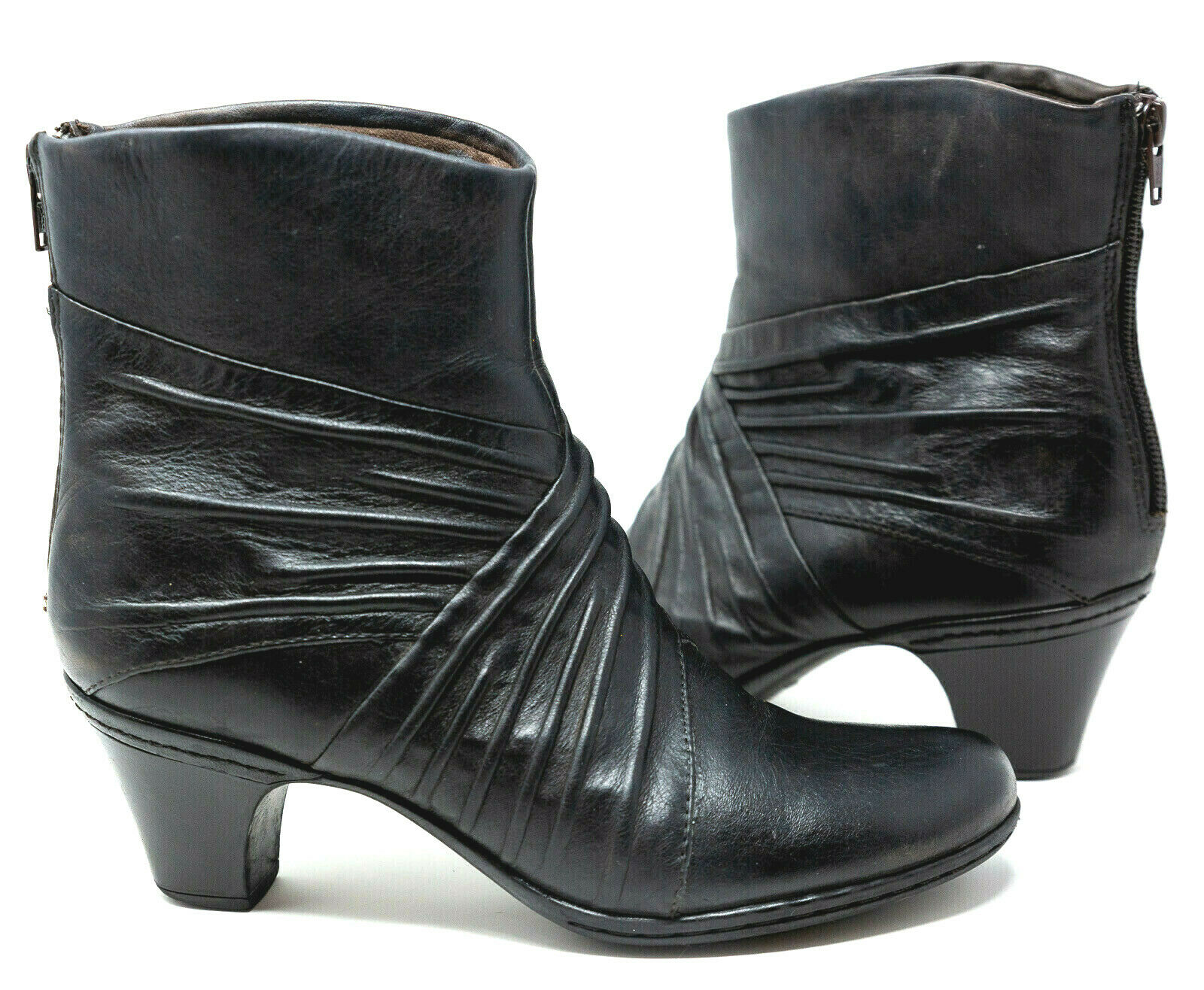 Cobb Hill New Balance Womens Sz 7.5 Black Ruched Leather Ankle Booties Heel Zip