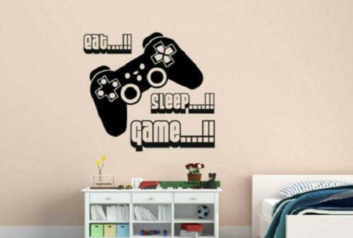 EAT SLEEP GAME Wall Art Decal Quote Words Lettering Video Game Room Man Cave