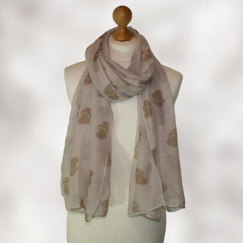 BNWT ladies girls HEART LOVE pashmina neck scarf head scarf wrap shawl BEIGE