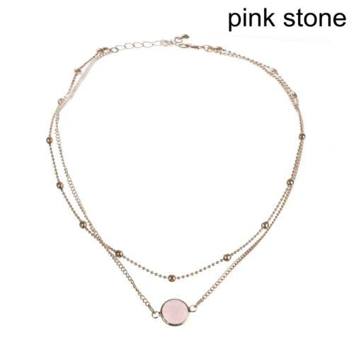 Ópalo de Aleación Joyería Collar 2 capas de piedra natural Colgante Collar Gargantilla
