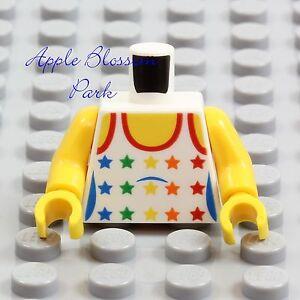 NEW-Lego-Female-GIRL-MINIFIG-TORSO-White-Yellow-w-Rainbow-Stars-Tank-Top-Shirt