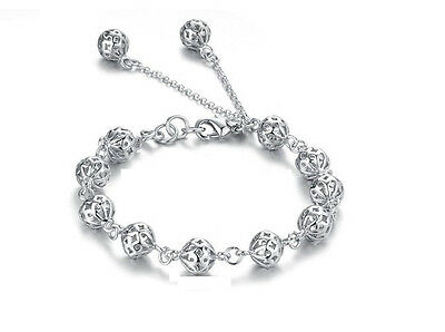 Spherical Hollow Beads Sterling Silver Vogue Bracelet Love Adjustable Gift B14