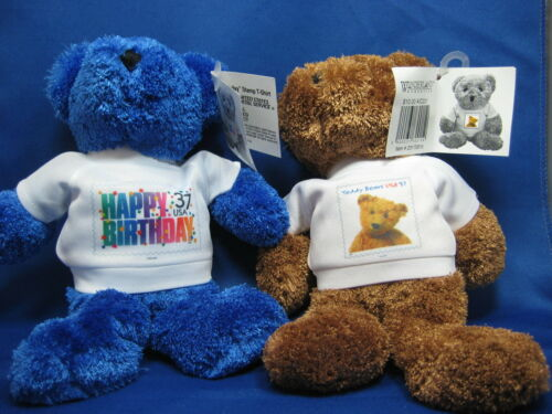 """2 NWT 37 C 9"""" USPS Collectible Stamp T-Shirt Teddy Bear """" Happy"""