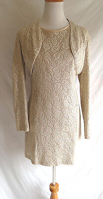 Gorgeous Bari Jay 10 Shimmering Gold Beige Crochet Lace Formal Dress & Jacket