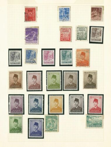Indonesia Collection on 12 Quad Pages, All Different