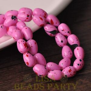 New-10pcs-14X10mm-Teardrop-Colorized-Dots-Loose-Glass-Spacer-Beads-Rose