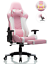 pink ohaho ergonomic computer gaming chair with footrest lumbar massage support