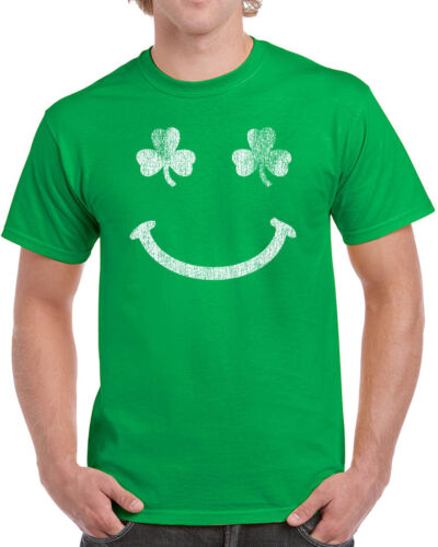 Patricks Day party beer new 107 Irish Smile mens T-shirt smiley face Ireland St