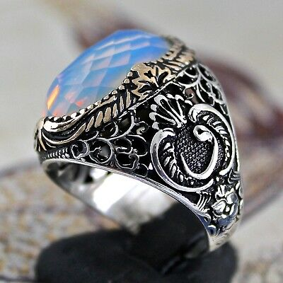 925 Sterling Silver Men's Ring with Opalite Unique Turkish Ottoman Jewelry