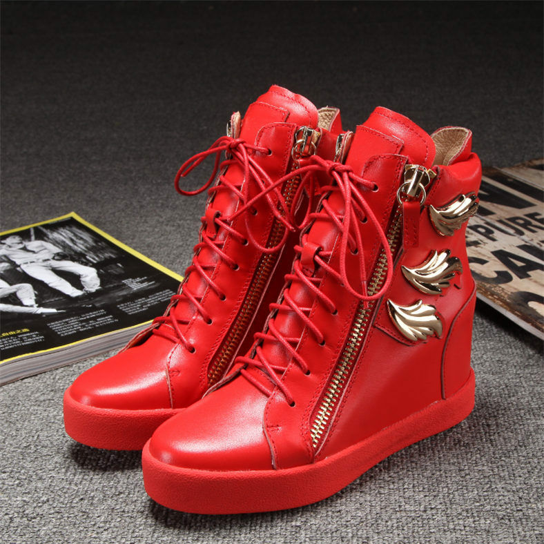 donna scarpe da ginnastica scarpe Wedge Heel Zip Lace Up Leather stivali High Top Metal 01