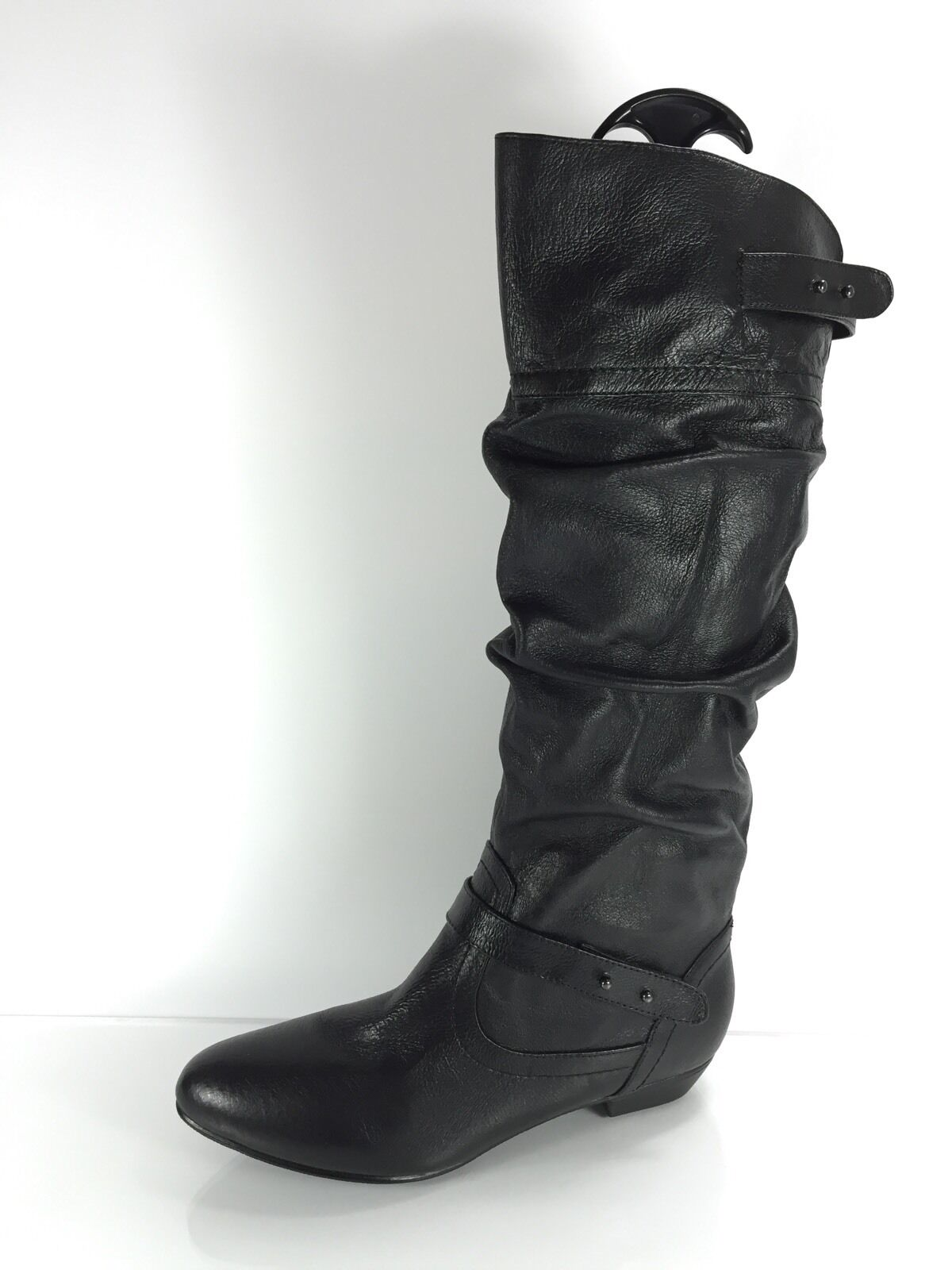 Steve Madden Womens Black Leather Knee Boots 8 M