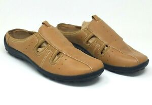 Easy-Spirit-Womens-Comfort-Slides-Mules-Brown-Leather-with-Cutouts-EUC-Size-9M
