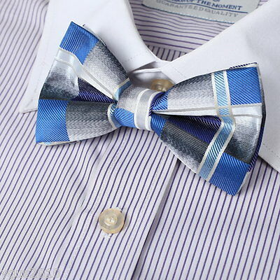 DBD7C05A Blue Checkered Polyster Pre-Tied Bow Tie Excellent Fabric By Dan Smith