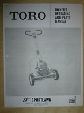 "TORO MOWER OPERATING PARTS MANUAL MODEL SPORTLAWN 18"""
