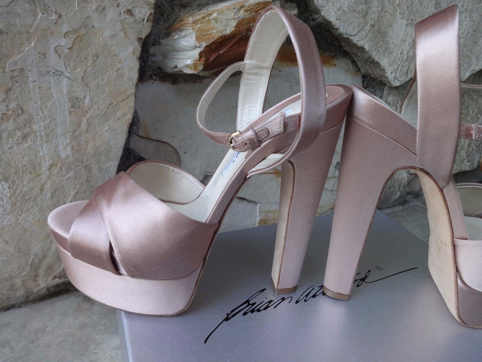 Brian Atwood Manhattan Nude Satin Skyhigh Open Toe Toe Toe Platform Sandals EU 41 7a9518