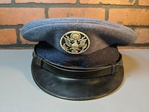 Vintage-Blue-Military-U-S-Airforce-Officer-Dress-Uniform-Hat-Cap-Bancroft-badge