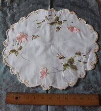 Antique Silk Society Work Hand Embroidered Roses & Leaves On Linen