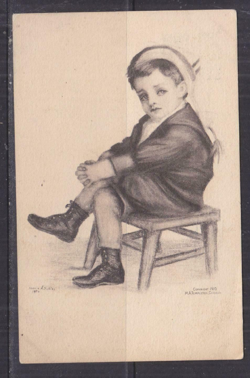 UNITED STATES, 1910 ppc. Young Boy on Chair, 1c. Chicago to Milwaukee.