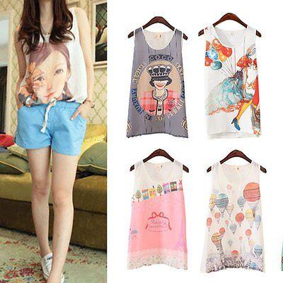 Women Chiffon Floral Print Vest T-Shirt Sleeveless Tank Top Blouse Summer Casual