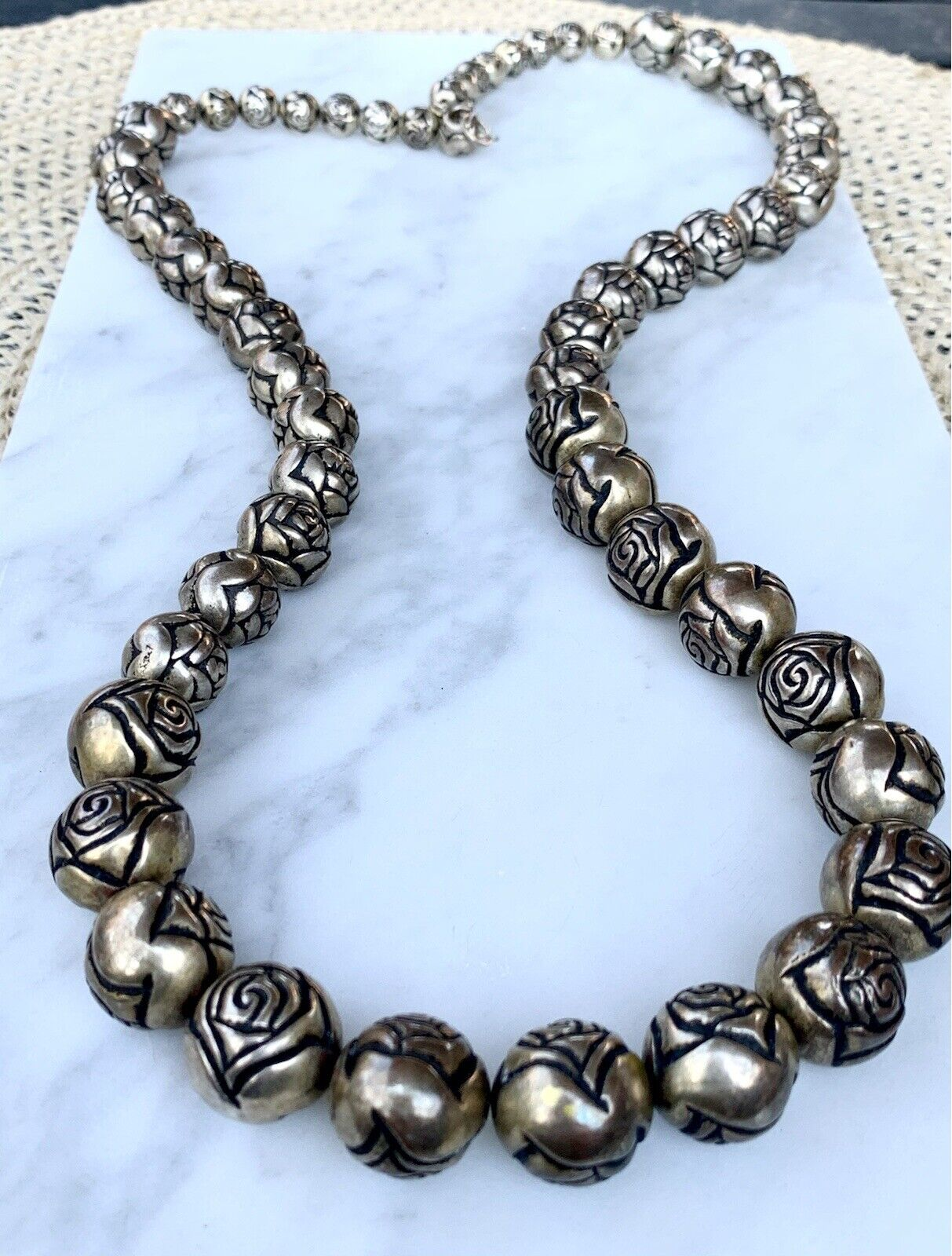 Silver Rose PendantHandcrafted Silver Necklace925 SilverVintage Silver NeclacePendant with ChainWomens Silver NecklaceGift for Her